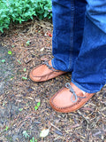 Wide Brown Leather Moccasins 1461-N
