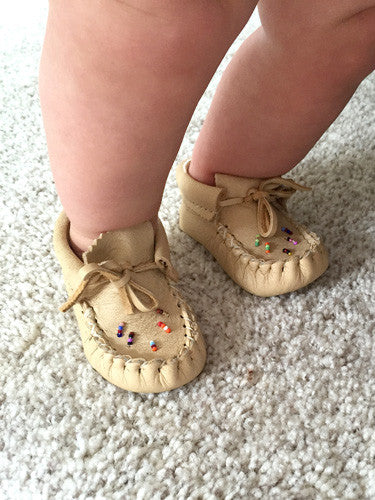 Baby Beaded Moose Hide Leather Moccasins 4337-B