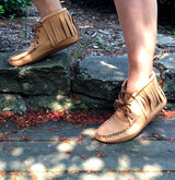 Women's Moose Hide Fringe Ankle Boots Oil Tan BB4215L