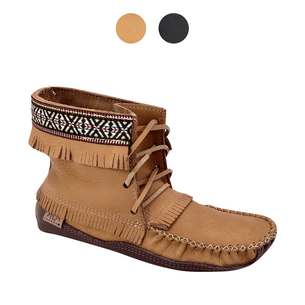 Men's Moosehide Native Braid Ankle Moccasin Boots BB37597C
