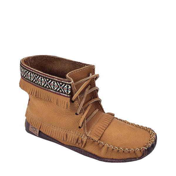 Women's Moose Hide Native Braid Ankle Moccasin Boots BB37597C-L