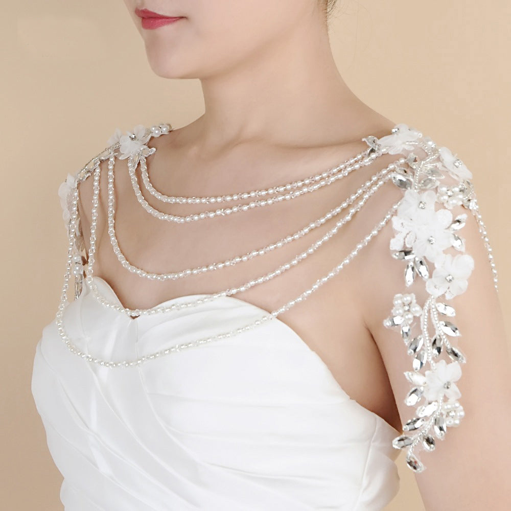 Bridal Sparkly Crystal body Lace Necklace shoulder bridal lace shoulder wedding pearl necklace Rhinestone Necklace Lace shoulder Jewelry
