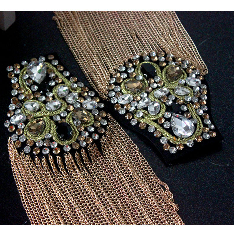 A Pair Beaded Epaulette,Gold Chain Epaulettes,Pearl Shoulder Pads,Wedding Dress Epaulettes,Bride Epaulette,,Shoulder patch pieces with pin