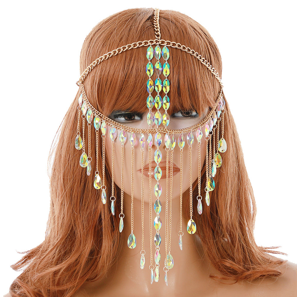 Sexy Women Masquerade Mask Ladies Head Face Chain Headpiece for Ballroom Party Belly Dancing Stage Nightclub Body chain Festival Jewelry
