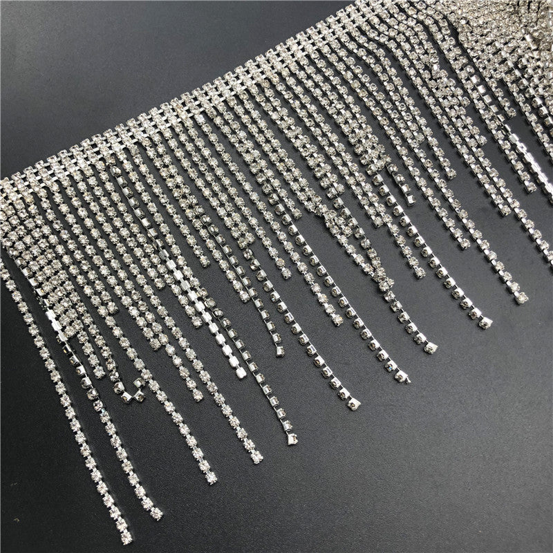 "4.3"" W Clear Rhinestone Trim Clear Crystal Chain Wedding Sparkle Fringe Rhinestone Chain Rhinestone Trim Cup Chain Swaroski shine silver"