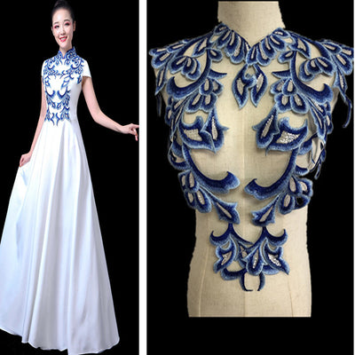 One set=4pcs Embroidered Sequin lace Beaded Appliques Blue Mirror Pair Patch 3d floral bodice flower applique Sew on DIY Dance Cosplay dress