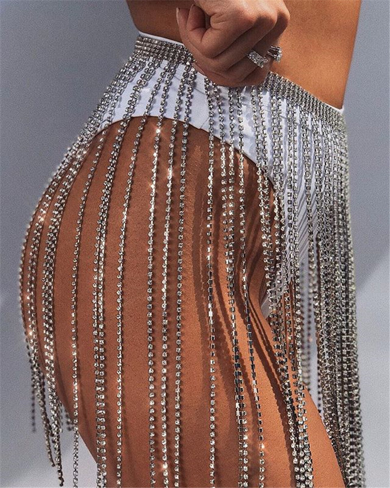 Gold Silver rhinestone mini skirt body jewelry lingerie chain rave fringe Bling Faux Crystal Skirt Adjustable belly Body Chain Body Jewelry