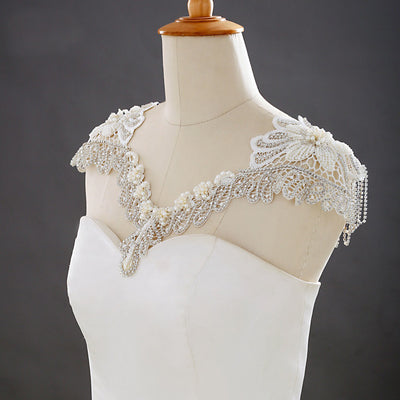 Beaded Lace Wedding Shoulder Necklace Pearl Rhinestone cape Jewelry For Bridal Crystal Wedding Dress Cover up Body Accessory For Bridal