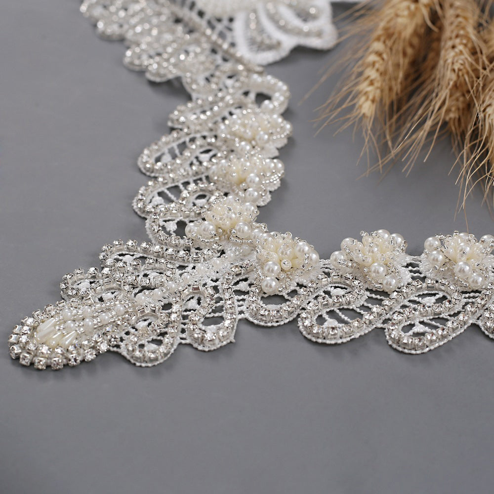 Lace Shoulder Necklace Ivory Pearl and Lace Wedding Shoulder Cover up Cape Chain Jewelry Wedding Dress Cape Bridal Shoulder Necklace Jewelry