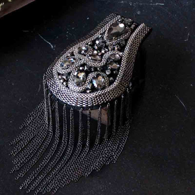 1 Pair Gunmetal Black Tassels Epaulet,Handmade Shoulder Pad,Rhinestone Beaded Shoulder Decoration Epaulets,Shoulder Embellishment,Epaulets