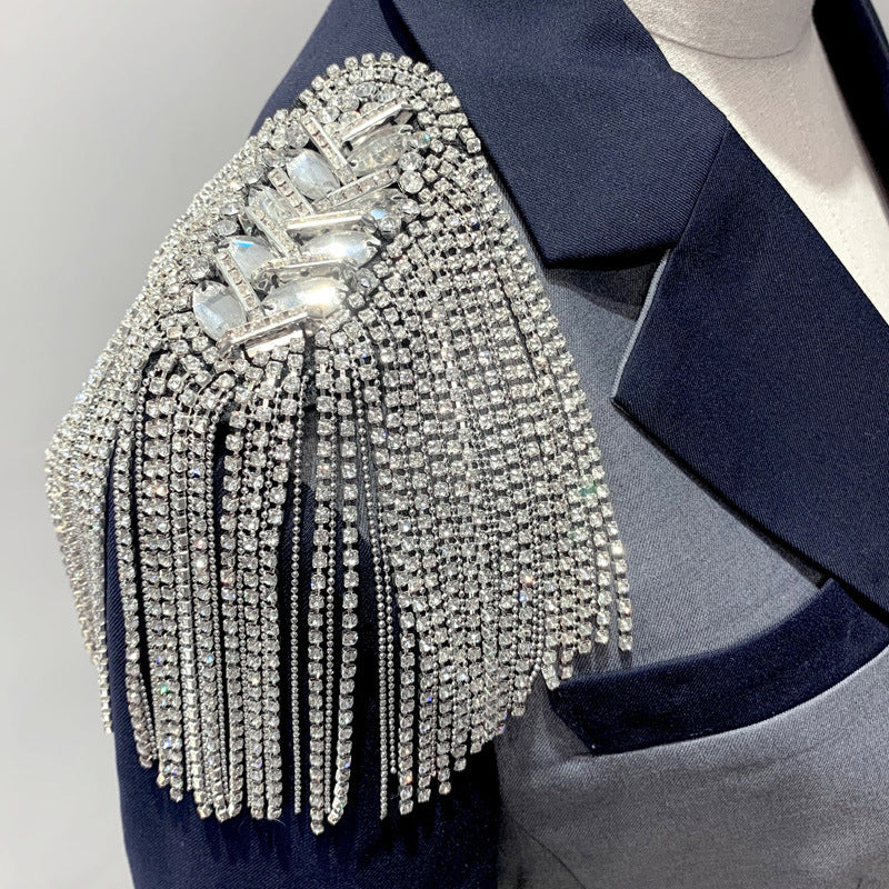 A pair Silver Rhinestone Spiked Tassel festival fringe Epaulets Shoulder Pads DIY Craft Bead Chain Jacket Embellishment Costume Accessory