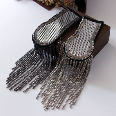 Mirror pair Metal sequin tassel Bead Party Brooch Vintage epaulette for clothes Punk Coat Suit DIY Fashion Tassel Shoulder Patch appliques