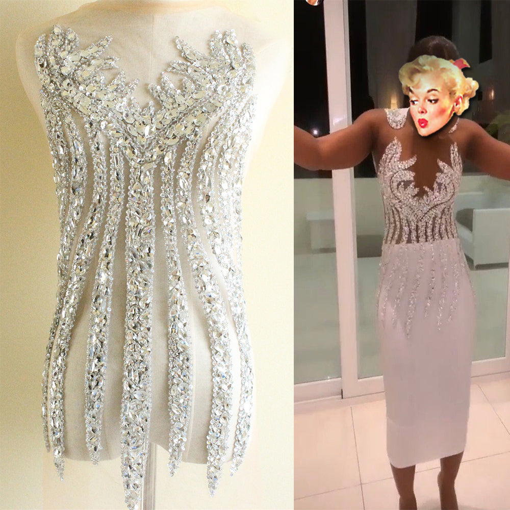 Large size bodice applique jewelry Dress Patch Full Body Hand-made Rhinestone Applique Bodice Patches For Dress Fabric Bridal,Prom Evening Dress