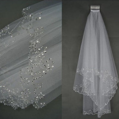 2 tier Sequin wedding veil Hand-sequined veil,beaded Elbow veil tulle veil blusher veil white ivory veil,Bridal Accessories with comb veil