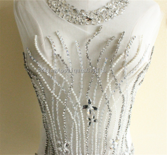 Sparkle Beaded Lace Applique,Gorgeous Bodice Lace Fabric Pearl Sequin Applique Fabric Patch with Neckline trim for Bridal Dress,Prom Dress