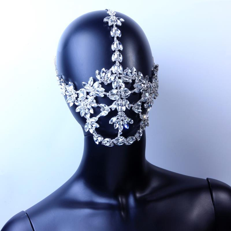 INS Crystal Bling Masks Decoration Face Jewelry Luxury Rhinestone Mask Chain Face Accessories Costume Halloween Masquerade Party Ornaments