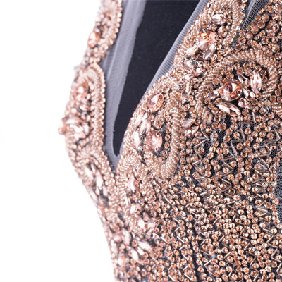Rose Gold crystal bodice applique
