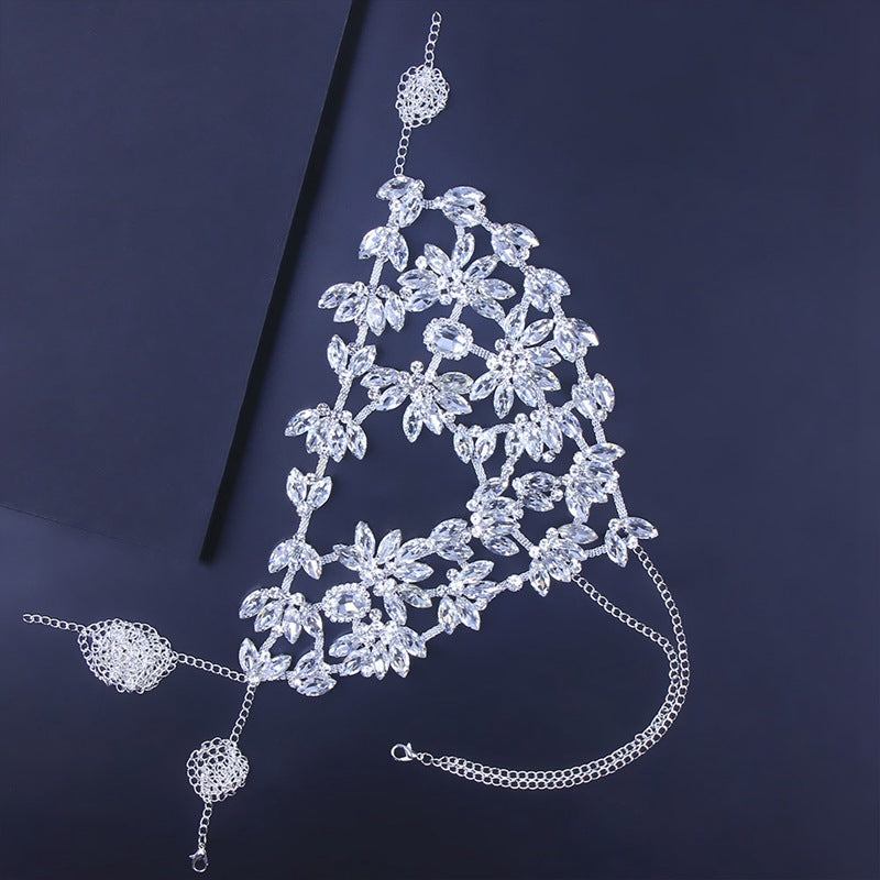 Crystal Face Mask Face Veil Accessory Ladies Head for Nightclub Ballroom Party Belly Dancing Stage Nightclub Body chain Festival Jewelry