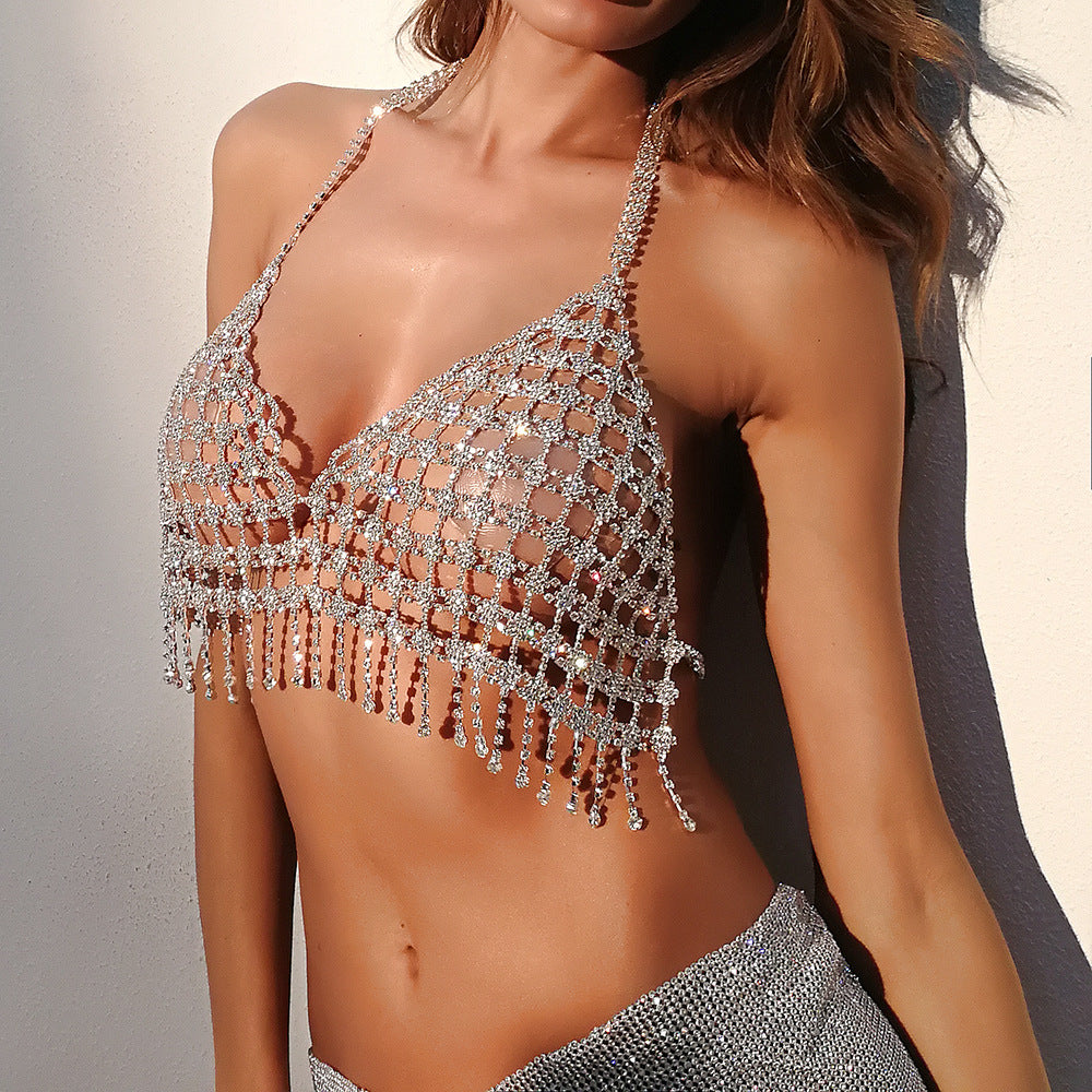 Sparkle Crystal Body Chain Jewlery Sexy Underwear for Women Tassel Shiny Rhinestone Bra Thong Bikini Swimsuit Breast Jewelry Adjustable
