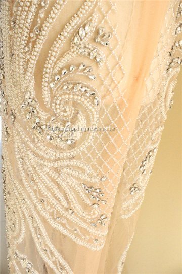Heavy beaded full body Applique rhinestone Fabric pearl applique bodice panel for Nude gowns wedding dress haute couture applique Prom Dress