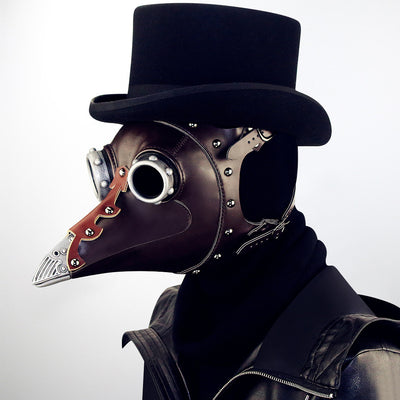 Plague doctor mask Beak Doctor Mask Long Nose Brown Cosplay Fancy Steampunk Mask plague doctor Gothic Retro Rock Leather Raven Halloween Masquerade