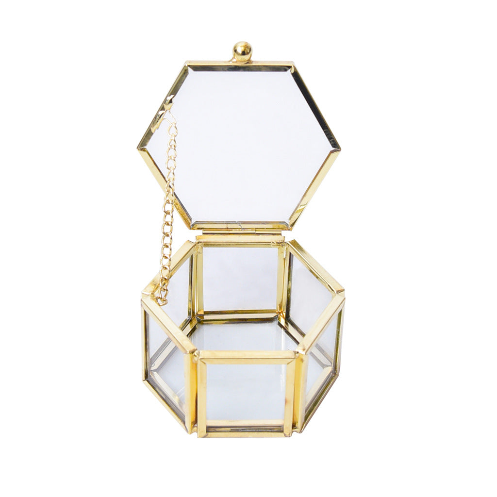 Gold Geometrical Clear Glass Jewelry Box Jewelry Organize Holder Tabletop Succulent Plants Container Storage Bridesmaid Gift Birdal shower