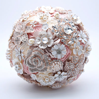 Romantic Pink Ivory Rhinestone Wedding Brooch Bouquet Crystal Pearls Jewelrys Decorated Roses Bride Wedding Flowers Broach Brooch Bouquet