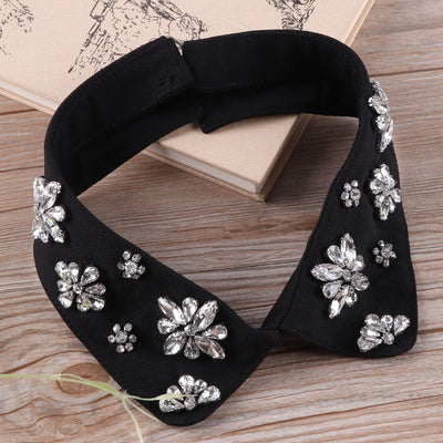 Unique Vintage rhinestone beaded neck trim collar detachable collar False Girl Fashionable Faux decorate shirt lace collar applique collar