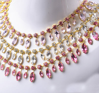 One Yard AAA Rhinestone Cup chain High Quality Rhinestone Fringe Pink Crystal Stone Applique Sewing Trimming Flower Wedding Party Dress DIY