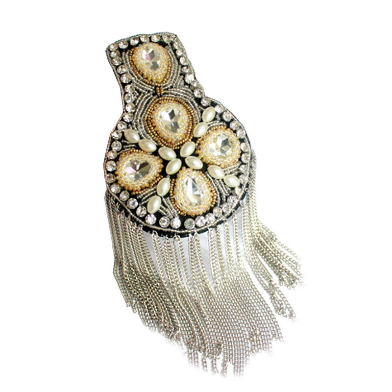 A pair Silver Rhinestone tassel Beaded epaulette for clothes Punk Wind Coat Suit DIY Fashion Tassel Badge Epaulets Shoulder Patches applique
