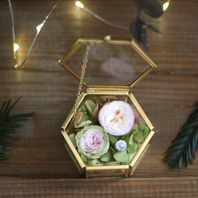 Preserved Rose Flower Wedding Ring Box DIY Engagement Ring Box, Glass Ring Box Wedding Gift Golden Jewelry Box Geometric Terrarium Ring Box