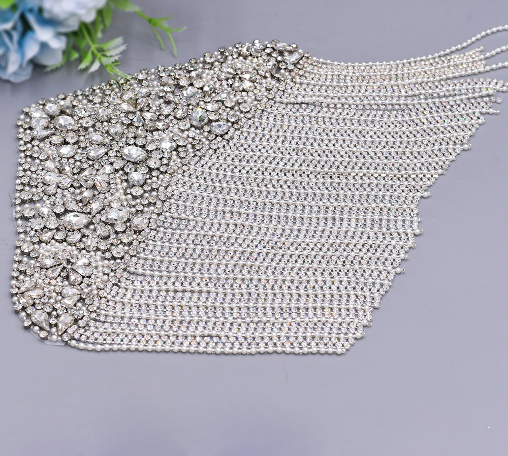 Wedding dress straps, bridal fringe straps, statement straps, shoulder beading, wedding dress, epaulettes, bridal accessories, detachable
