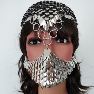 Silver Fish Scale Chain Jewelry Holographic Sequin Scalemail Head Piece Medieval Dragon Cosplay Music Festival Burning Man Halloween Costume