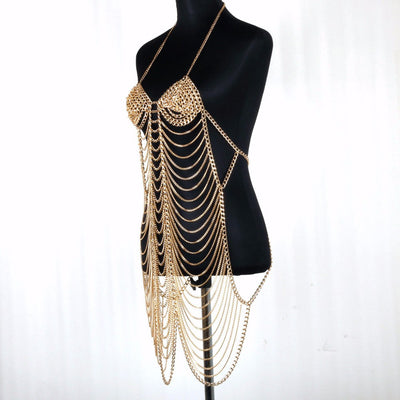 Charm Gold Color Unique Design Sexy Women Harness Full Body Chain Belly Waist Fashion Costume Chain Bra Dress Bikini Body long Jewelry