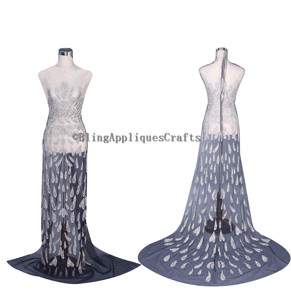 Designer Full Bodice Mesh Fabric One Set Swarovski Shine Rhineatone applique panels Long bodice applique jewelry for Wedding,Evening, Prom