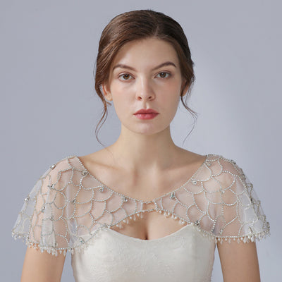Gorgeous Rhinestone lace Summer Bridal Cape wedding Cover Up Wedding dress straps Wrap Jacket crystal pearl bridal Beaded shoulders Jewelry