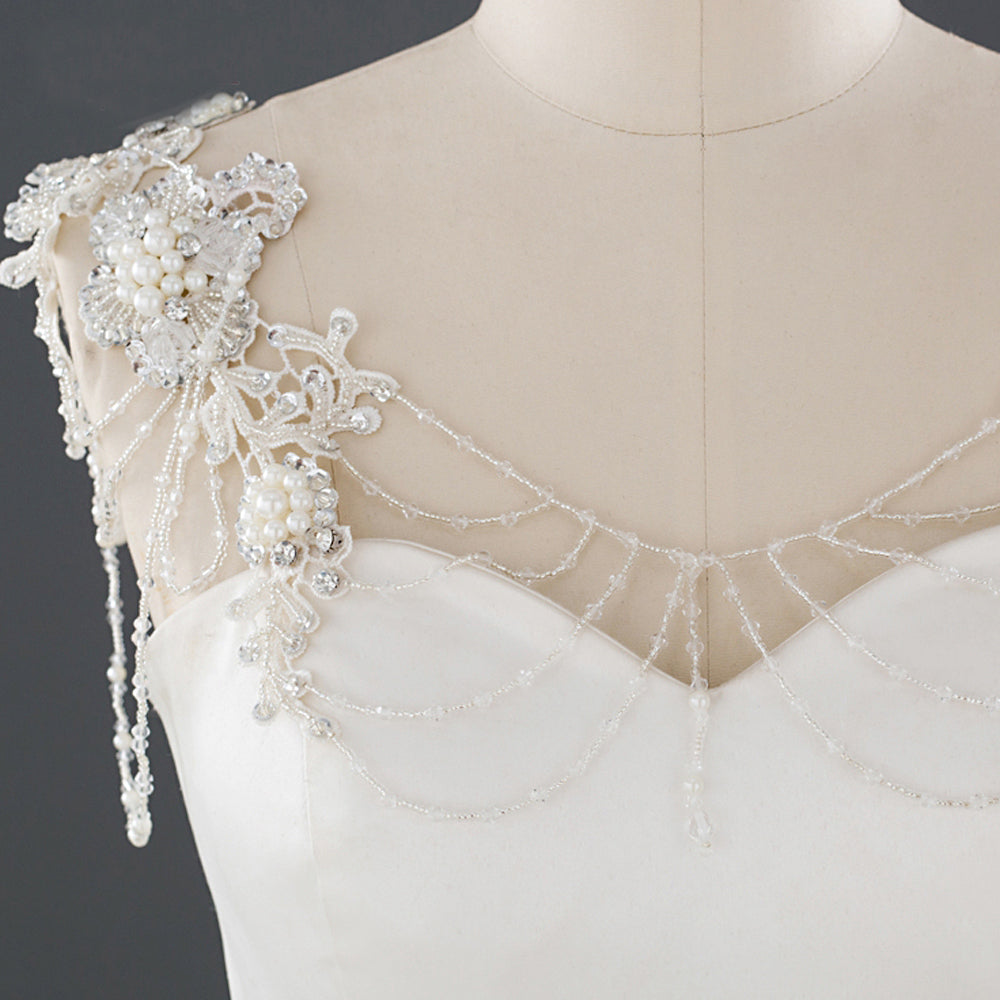 Bridal shoulder necklace Lace crystal bolero Cover up Cap sleeves Pearl beaded straps for wedding dress Bridal shoulder Shrug jewelry