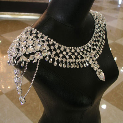 Sparkle Bridal Shoulder Jewelry Necklace Jewelry Wedding Diamante Chain Jewelry Rhinestone Necklace Body Accessory For Wedding Shoulder