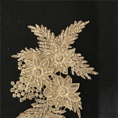 Gold Silver Mrror Pairs Rhinestone Luxury Beaded 3D Bridal Gown drilling Lace Applique Embroidery Patches Trim for Lyrical Dance Costumes