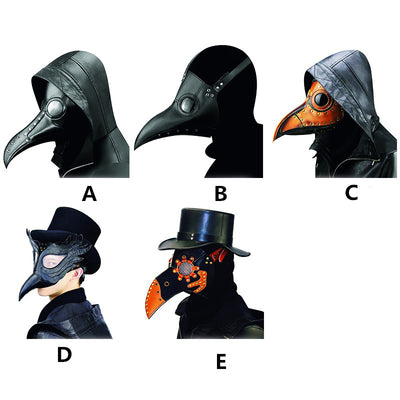Gear Duke Halloween Party Vintage PU Beak Mask Steampunk Plague Doctor Bird Masks Costume Prop Bird Mouth Design Mask Cosplay Props Accessory