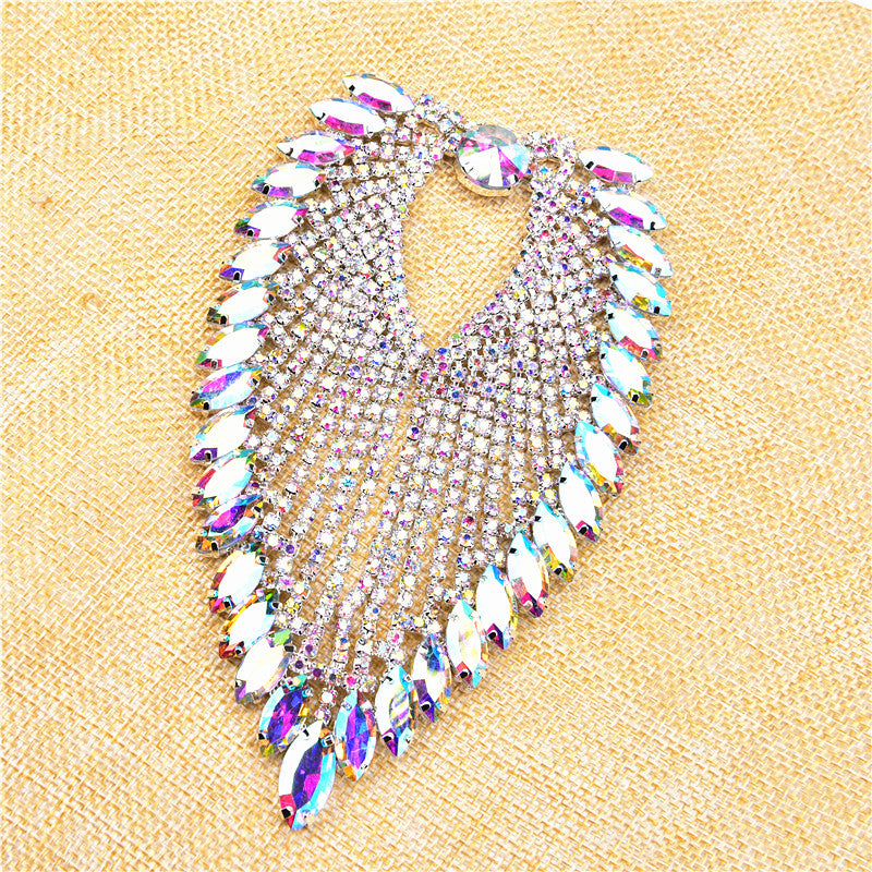 Rhinestone applique AB crystal Applique for flower girl shoulder Rhinestone Patch Bridal Applique Brooch(without pin) Headband Jewelry DIY