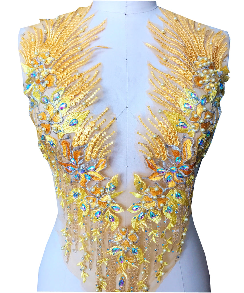 Exquisite Sew on beads rhinestones golden lace bodice applique triming patches 3D Lace Applique Beaded Embroidered for Dance Prom Dress