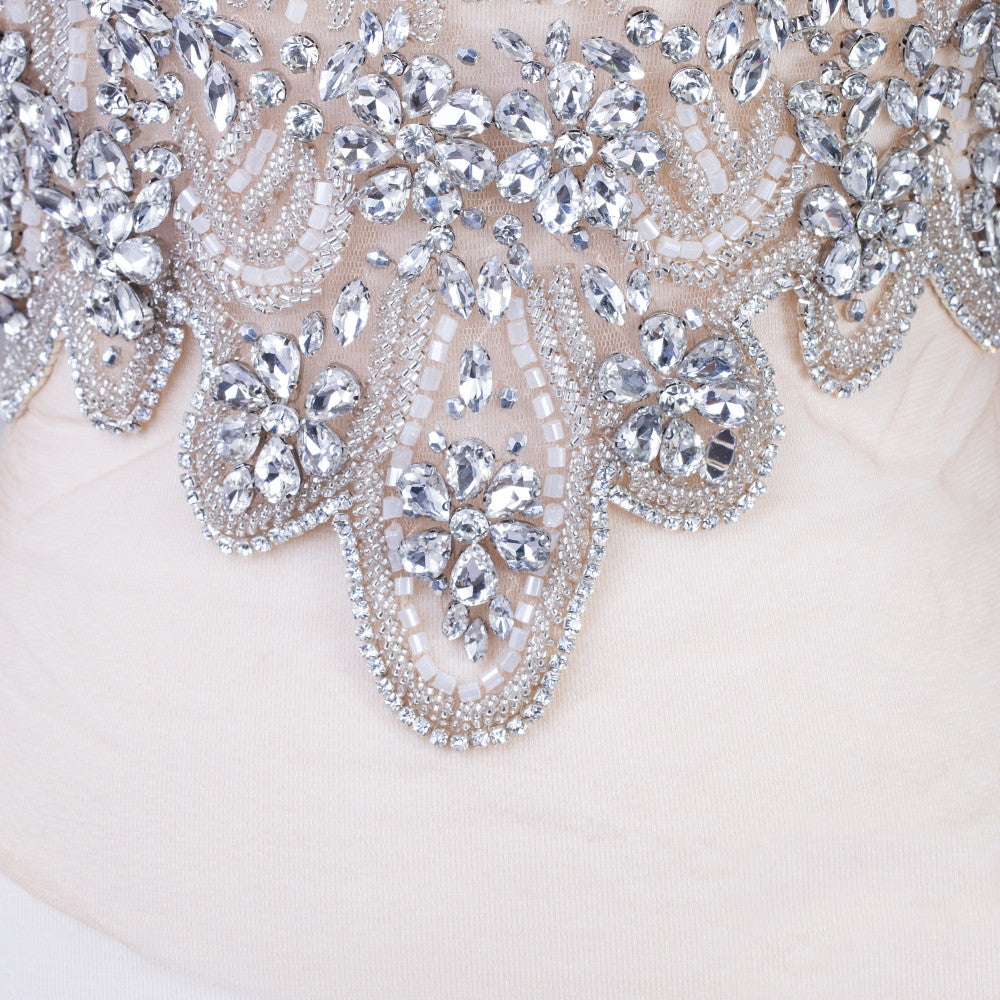 Bodice Rhinestone Applique, Bridal Gown Rhinestone Applique, Prom Dress Rhinestone Applique, Silver Bodice Lace Applique