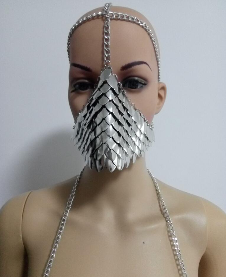 Dragon armour scalemail scale mail chain bra full set costume bikini top skirt belt gauntlets mask shoulder pads Cosplay game of thrones