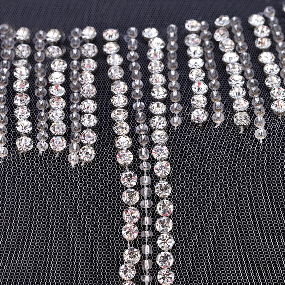 One set Stunning Haute Couture Silver Rhinestone Bodice Bridal Unique Design Luxurious Full Body Bead Applique for Hollywood Star Sex Dress Evening dress