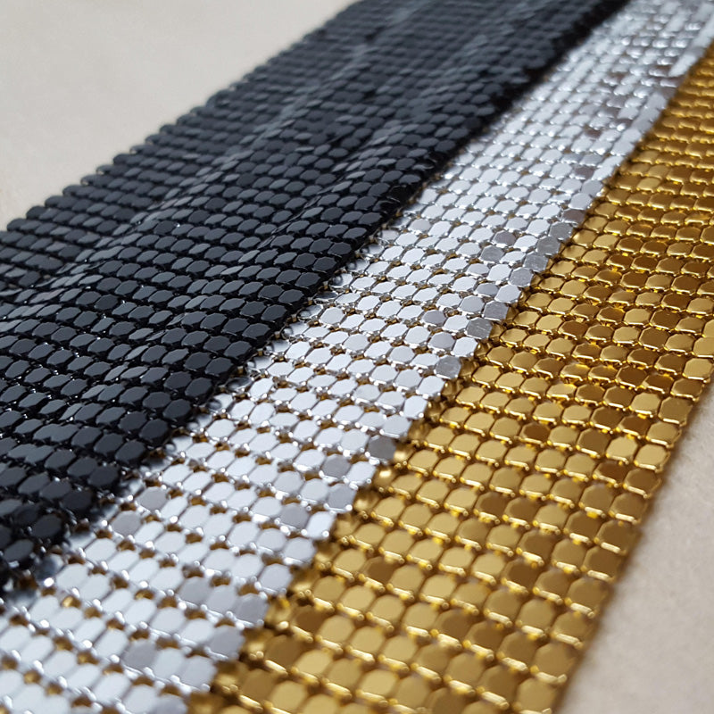 3mm Shiny Gold Silver Aluminum Mesh Metal Trim Rhinestone Fabric Full Sheet Banding Applique for Kendall Dress Clothes Evening Bag Earrings