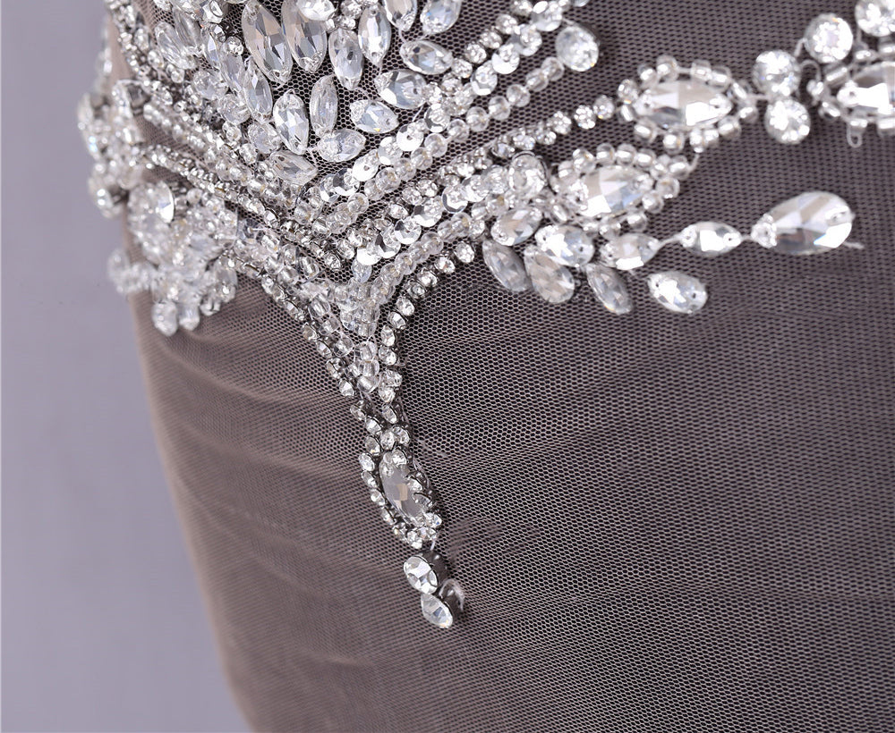 Heavy Clear Glass Rhinestone Bodice Applique Sparkling Crystal Patch Beaded Bodice Applique Engagement,Wedding Evening,Dress Swarovski Shine