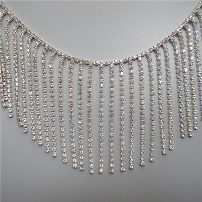 "4.7""W Rhinestone trim Crystal Chain rhinestone fringe Swarovski shine silver tassel diy wedding dress Jacket hand-stitched rhinestone trim"