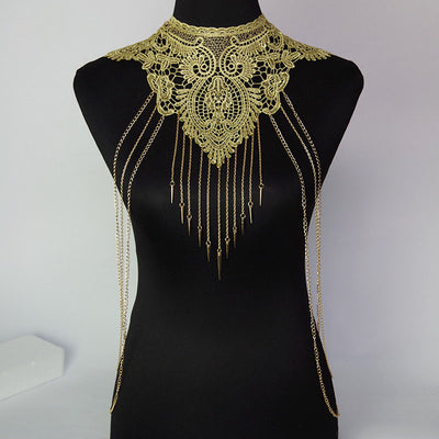 Gold Lace Body Harness Necklace Tassel Body Chain ,body Necklace, Chain Dress, Belly Dance, Waist chain festival Jewelry Party night club