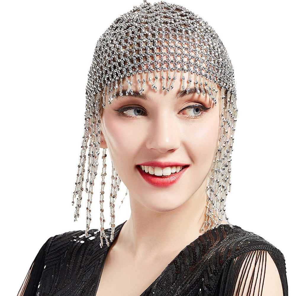 Gatsby headpiece Flapper 1920s Roaring 20s Silver Beaded Headpiece accessories gatsby dress party Great Gatsby Jewelry Art Deco Headband